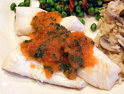 Poached Orange Roughy with Tomato Herb Sauce