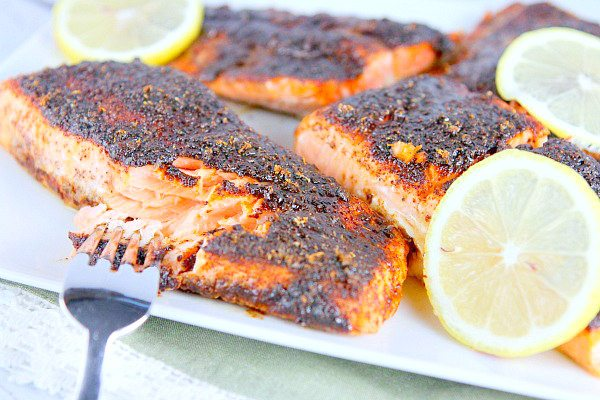 Roasted Salmon with Spicy Pineapple Marinade