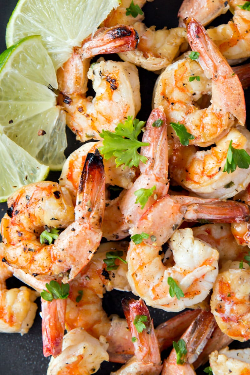 Marinated Grilled Shrimp with lime garnish