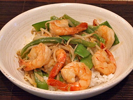 Coconut Curry Stir Fried Shrimp