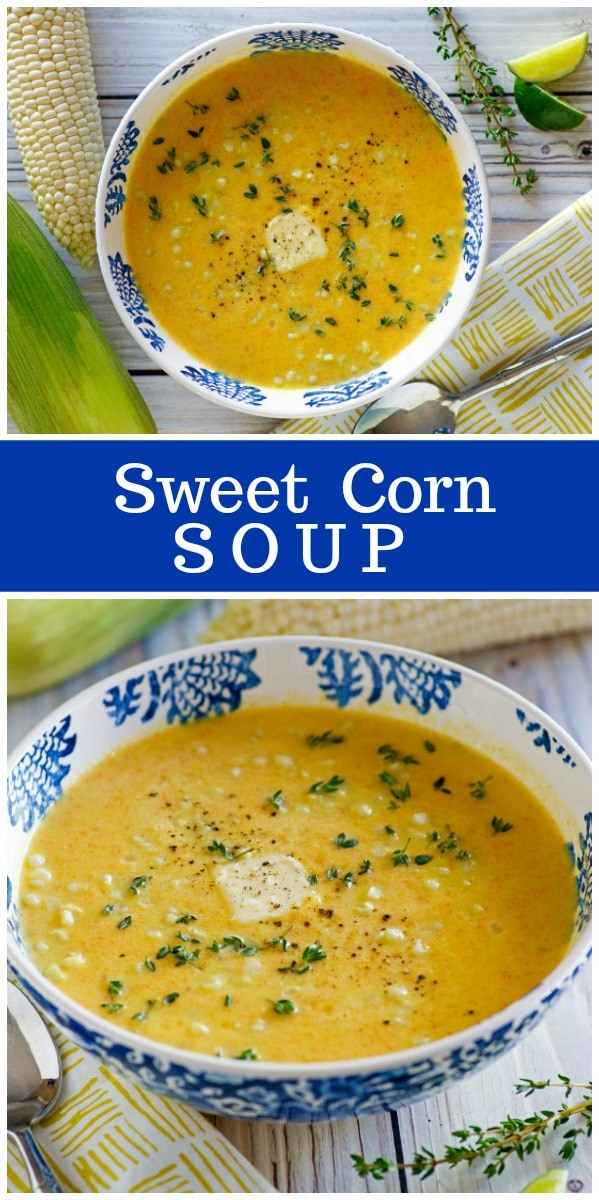 Sweet Corn Soup recipe using up summer fresh sweet corn on the cob! #recipe from RecipeGirl.com #corn #soup #summer #recipegirl