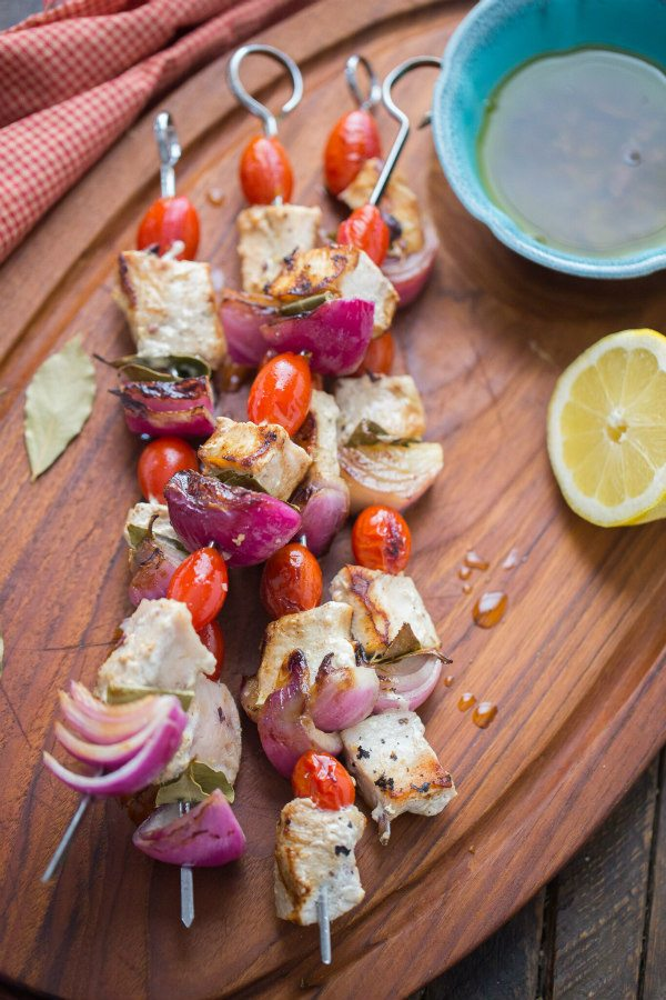 Swordfish Souvlaki with Lemon Olive Oil Marinade - recipe from RecipeGirl.com