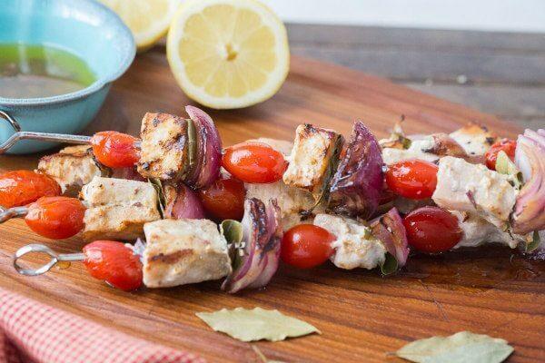 Swordfish Souvlaki with Lemon Olive Oil Marinade - recipe from RecipeGirl.com
