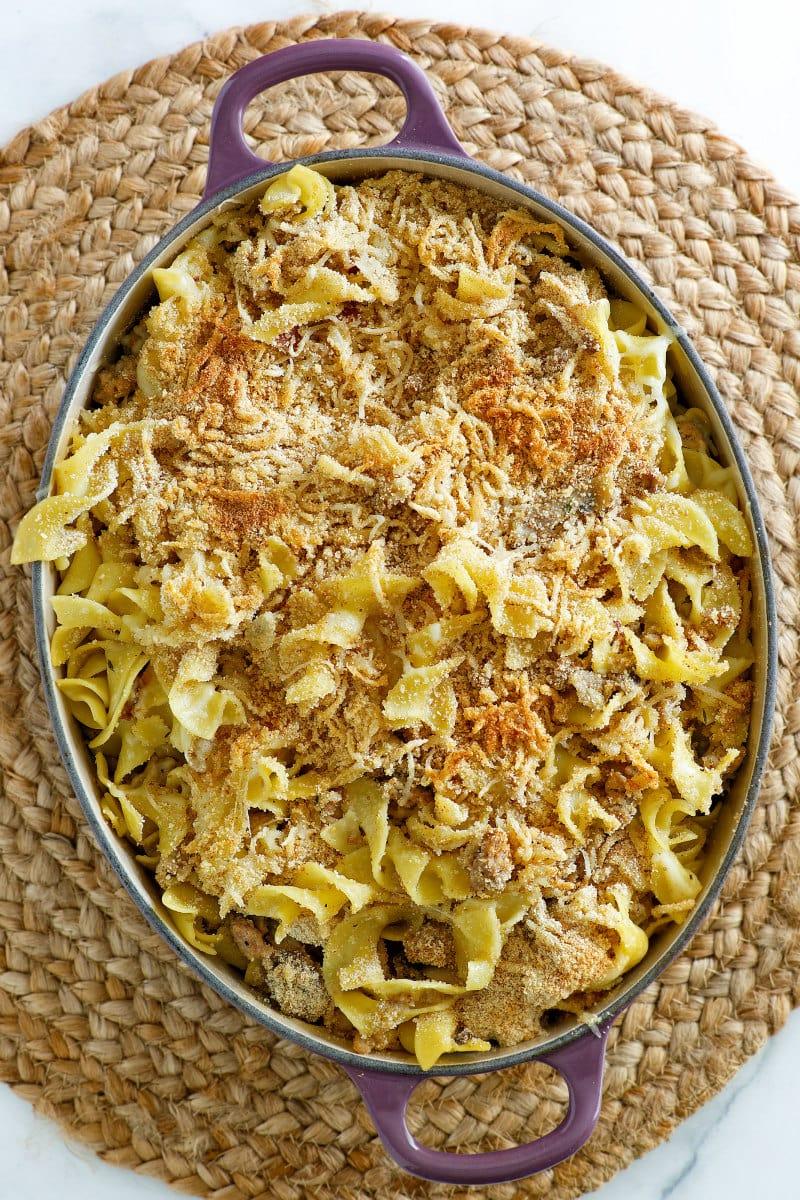Turkey Noodle Casserole in a casserole dish