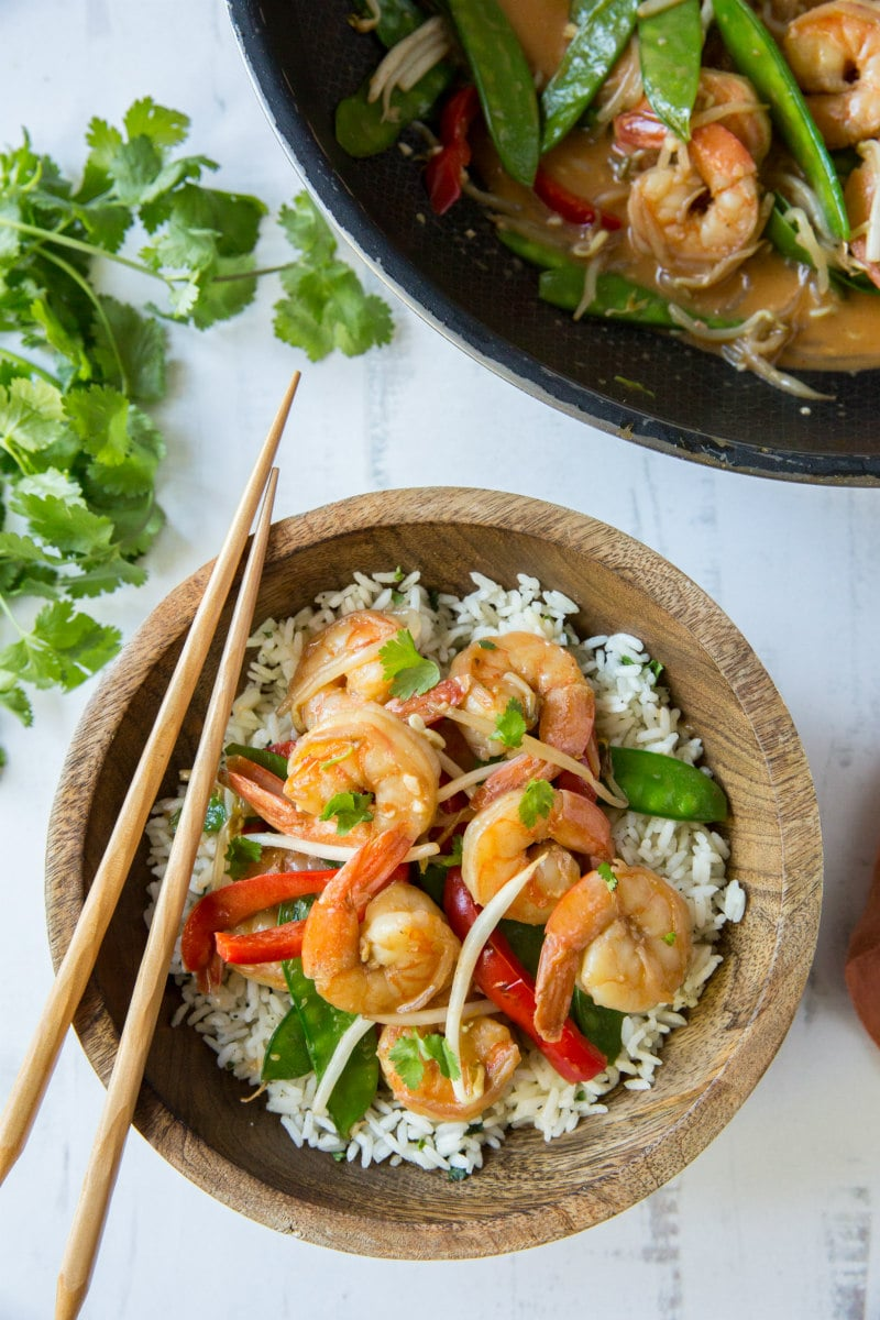 Coconut Curry Stir Fried Shrimp served over rice