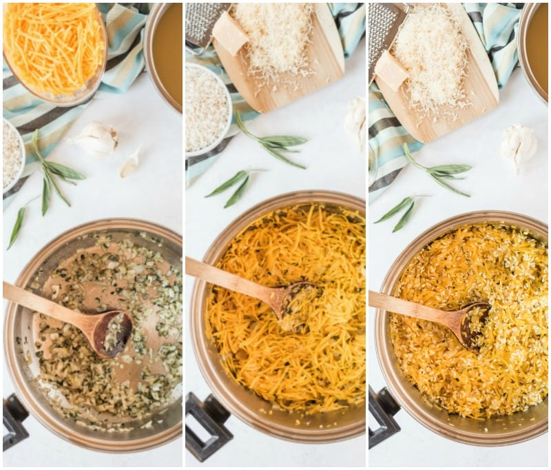 three pictures showing process of making butternut squash risotto