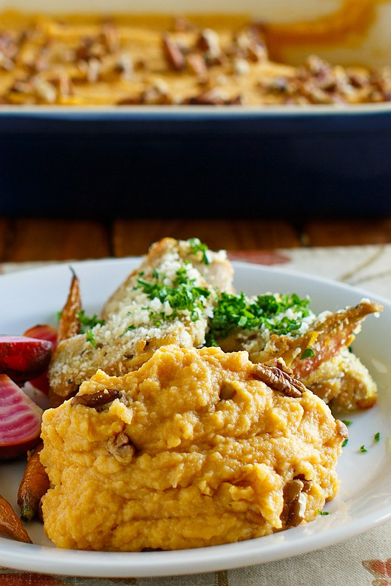 a serving of Creamy Mashed Sweet Potatoes