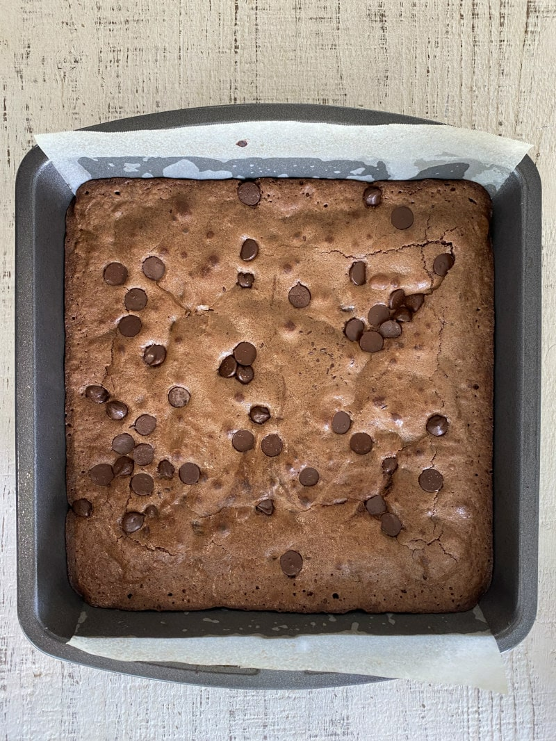Deep Dark Brownies in the pan