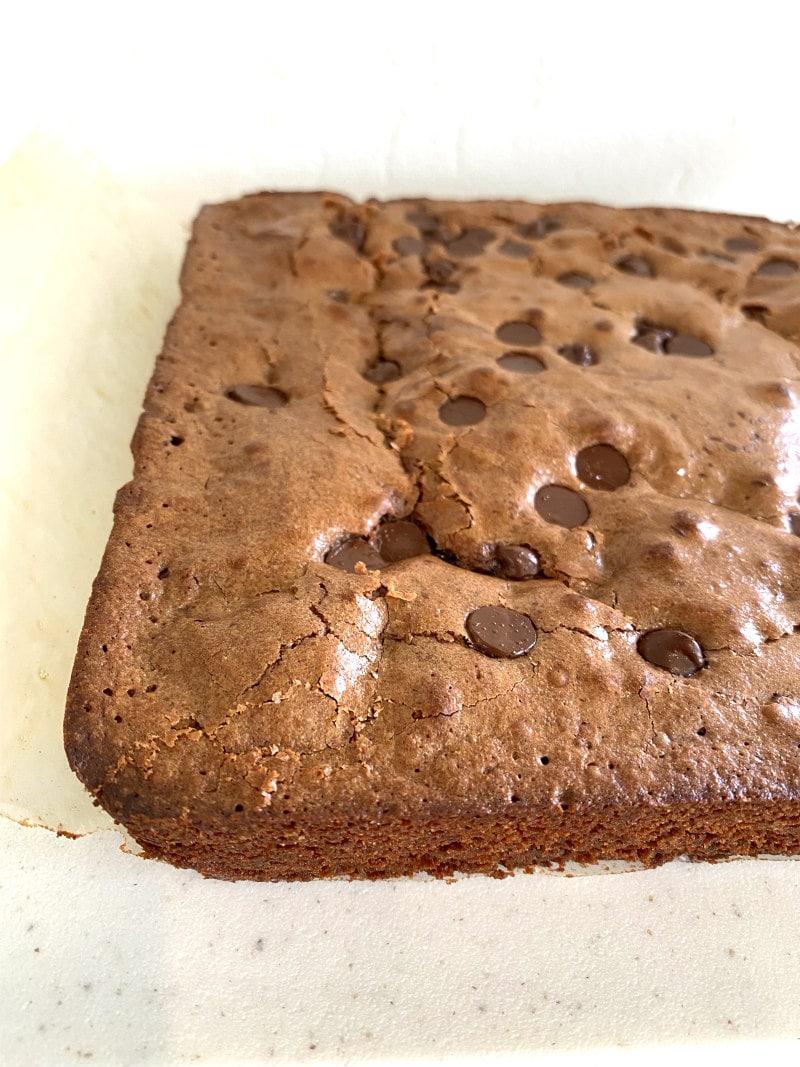 Deep Dark Brownies ready to cut