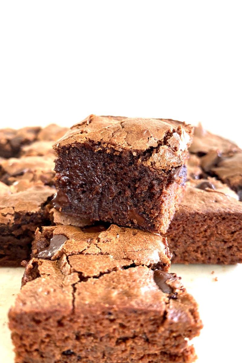 Deep Dark Brownies stacked