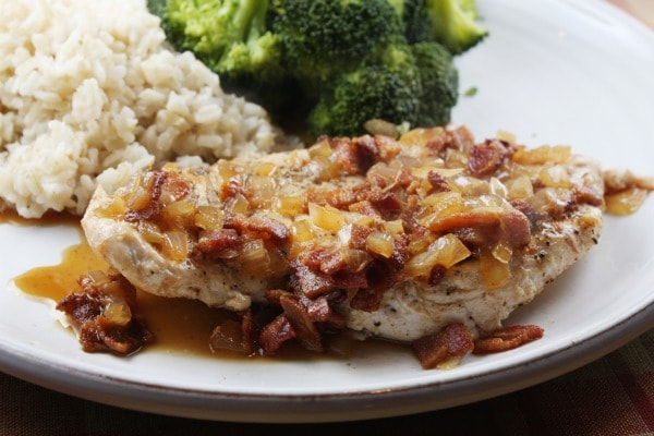 Chicken with Cider and Bacon Sauce - recipe from RecipeGirl.com