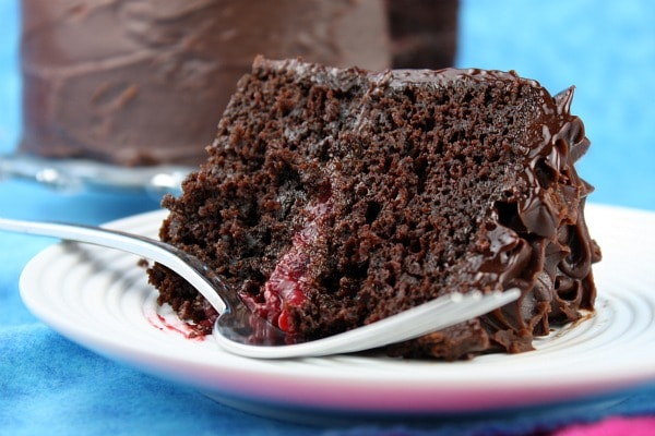 slice of double chocolate cake with raspberry filling