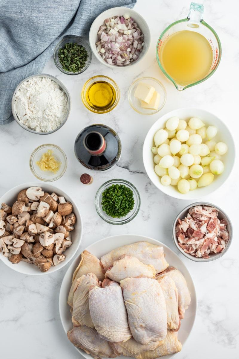 displayed ingredients for coq au zin