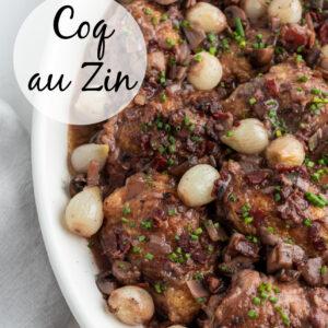 pinterest image for coq au zin