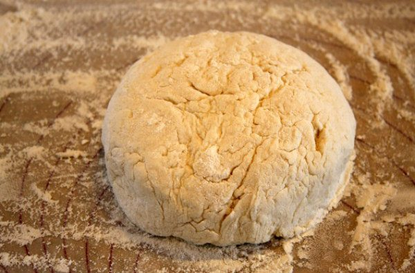 Flaky Buttermilk Biscuits Dough patted into a ball
