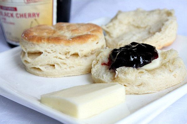 buttermilk biscuits warm with butter and jam