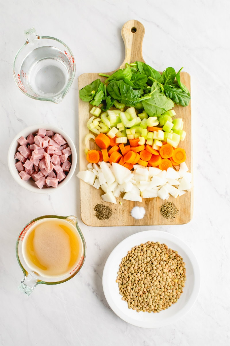 ingredients displayed for ham and lentil soup