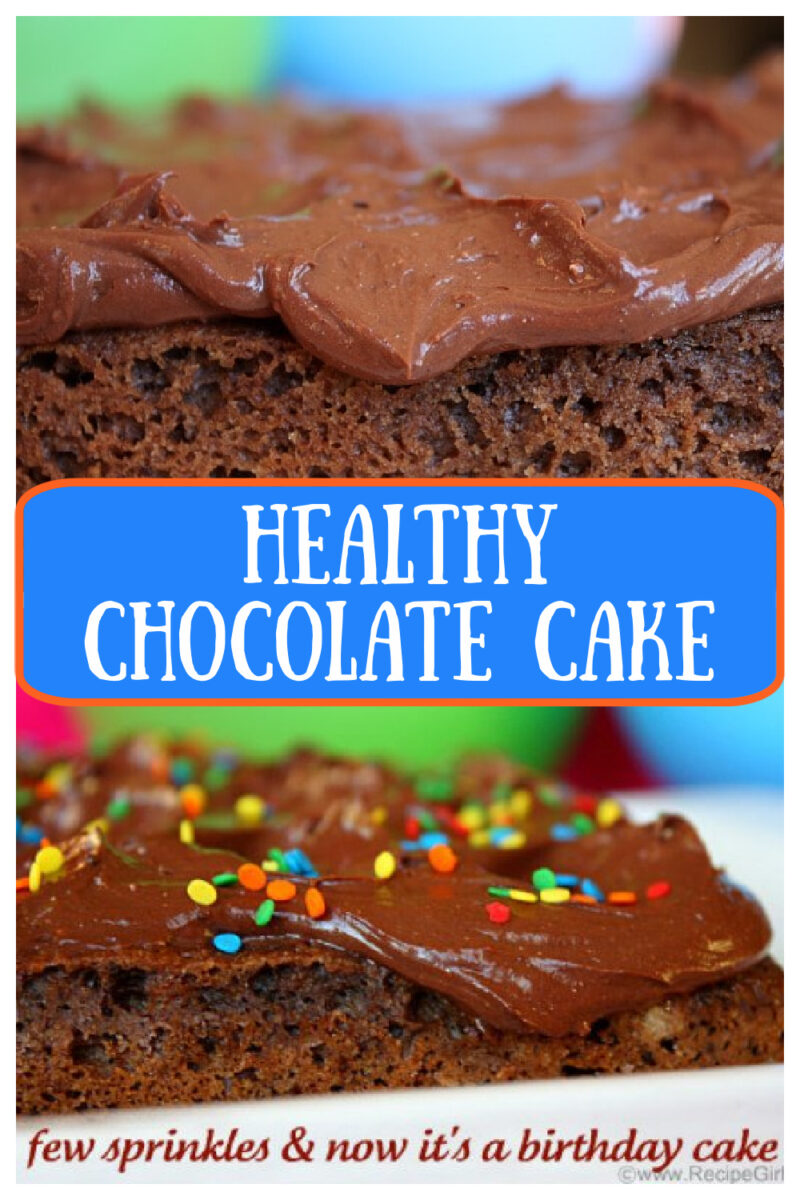 pinterest collage image for healthy chocolate cake