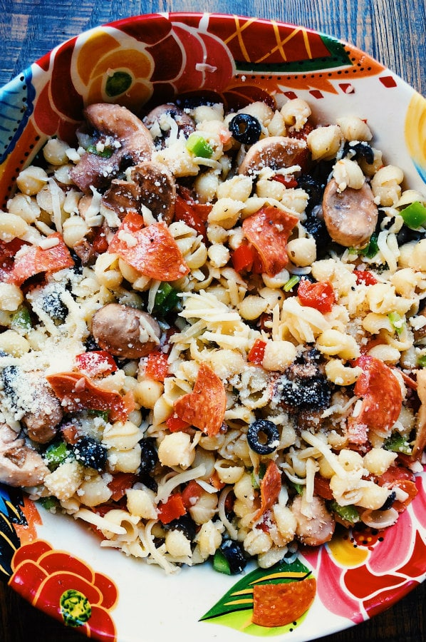 Bowl of Pizza Pasta Salad
