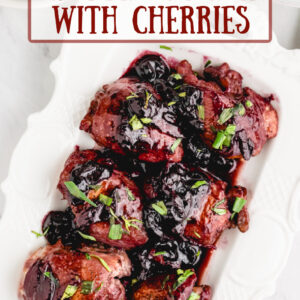 pinterest image for sauteed chicken with cherries
