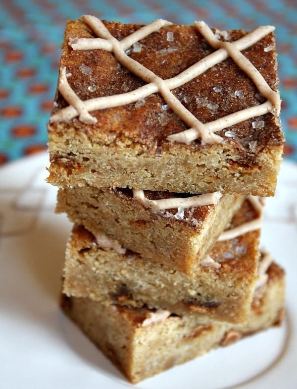 Snickerdoodle Blondies Recipe - from RecipeGirl.com