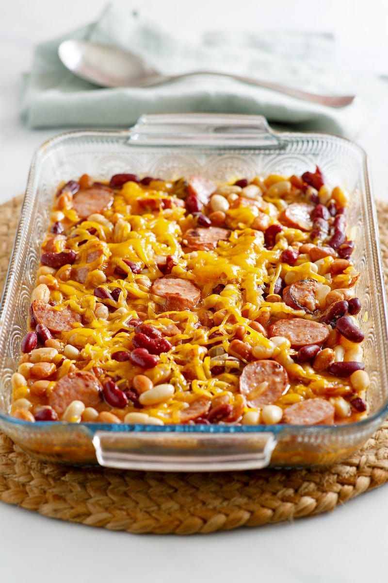 Three Bean and Sausage Bake in a casserole dish