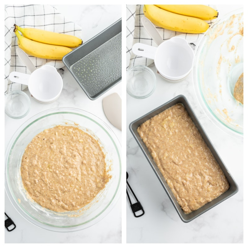 banana bread batter in a bowl and in the loaf pan