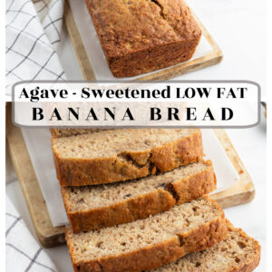 pinterest collage image for agave sweetened low fat banana bread