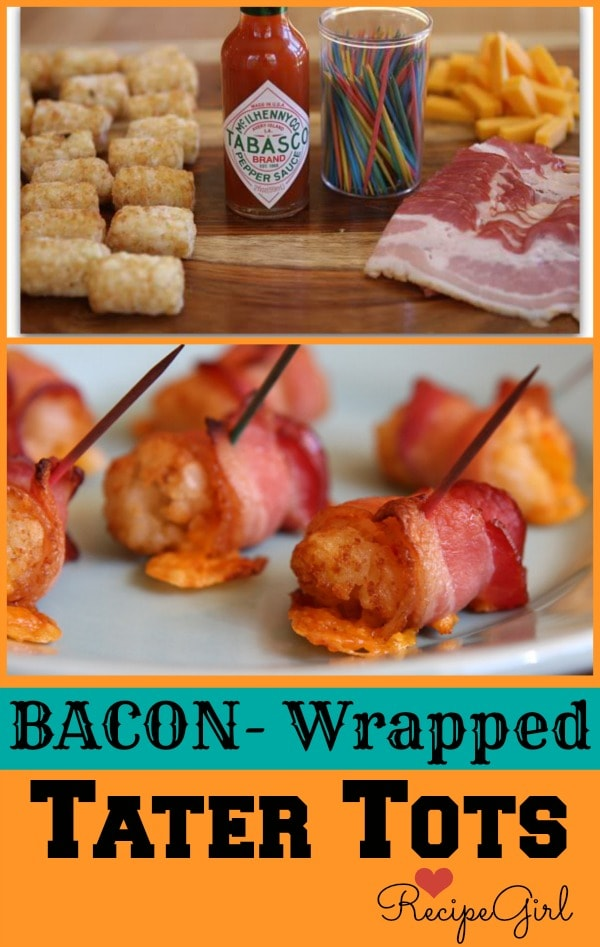 Bacon- Wrapped Tater Tots - RecipeGirl.com
