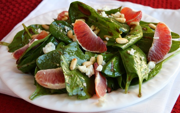 Blood Orange Spinach Salad recipe from RecipeGirl.com