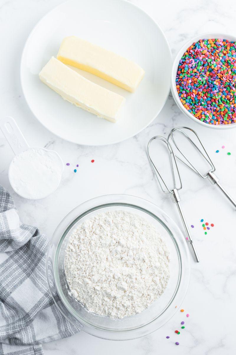 ingredients displayed for shortbread cookies