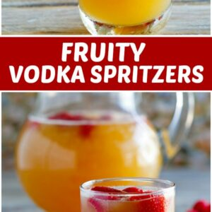 pinterest collage image for fruity vodka spritzers