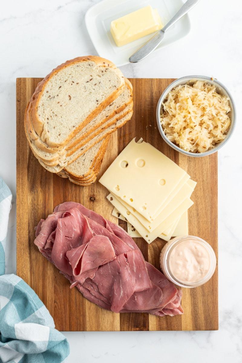 displayed ingredients for ruben sandwiches
