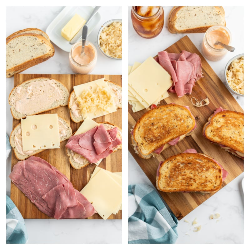 two photos showing the process of making a ruben sandwich