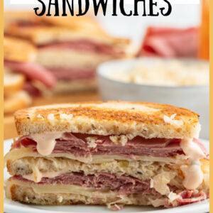 pinterest image for grilled reuben sandwiches