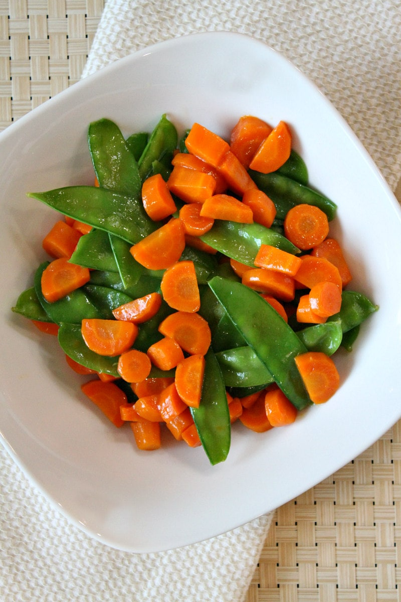 Bowl of Honey Glazed Pea Pods and Carrots