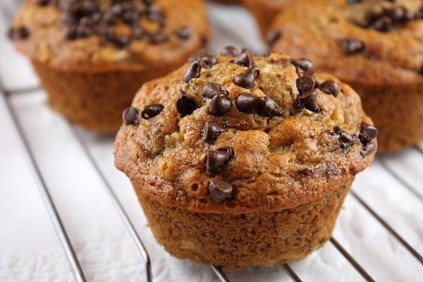 Honey Sweetened Low Fat Banana Chocolate Chip Muffins- recipe from RecipeGirl.com
