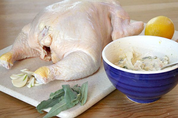 Slashed Chicken with Bacon Herb Butter - recipe from RecipeGirl.com