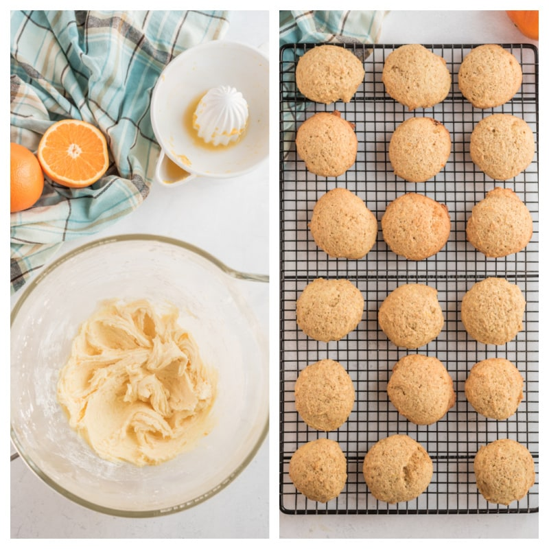 cookies on cooling rack and bowl of frosting