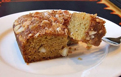 Mango Gingerbread with Macadamia Streusel - recipe from RecipeGirl.com