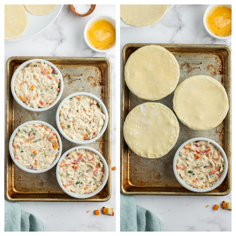 two photos showing process of making chicken pot pies topped with pastry