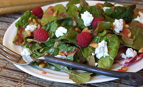 Mixed Greens and Goat Cheese with Raspberry Vinaigrette