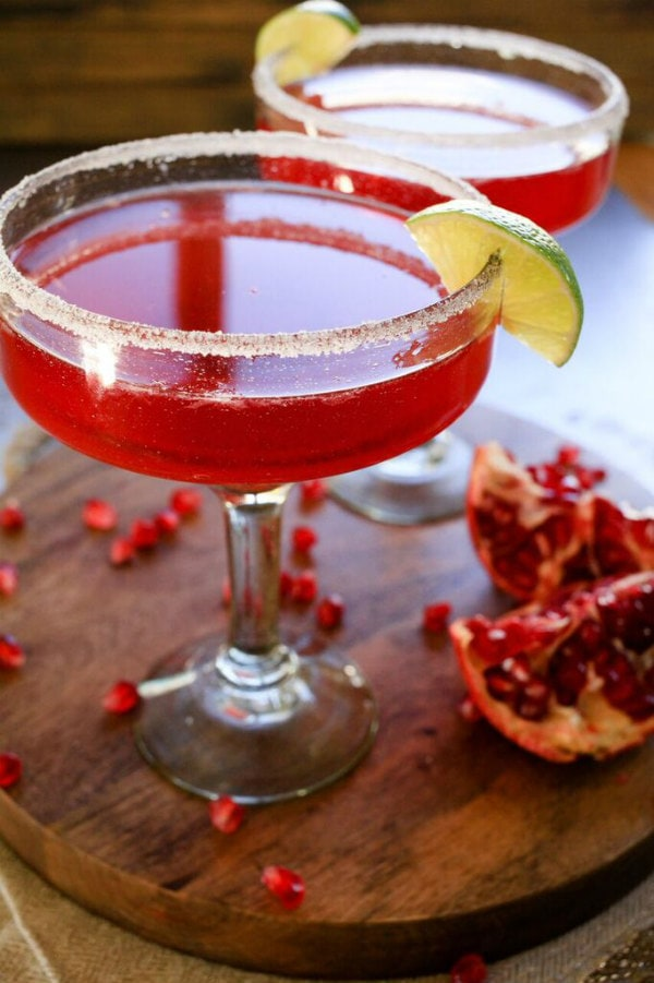 Pomegranate Margaritas Recipe - from RecipeGirl.com