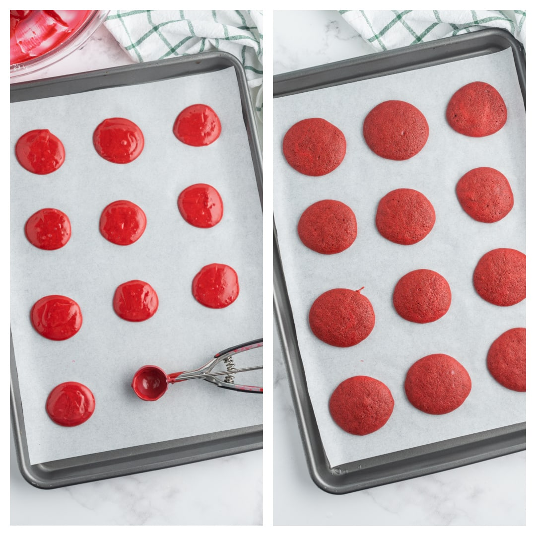 making red velvet cakes for whoopie pies on baking sheet