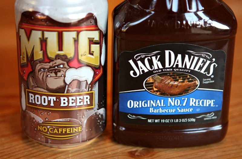 mug root beer can and a bottle of Jack Daniel's barbecue sauce