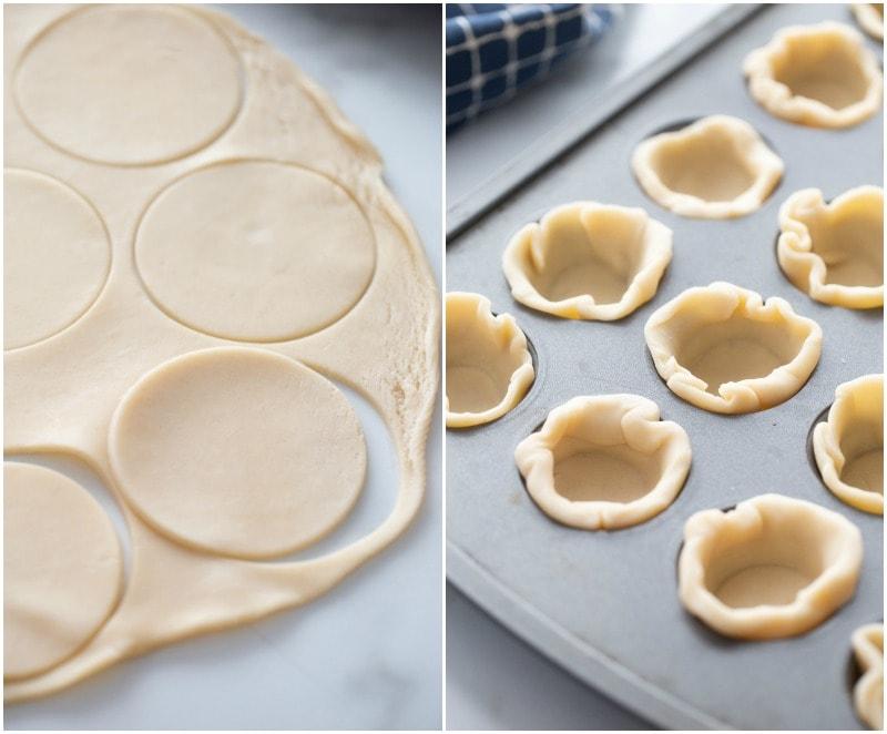 cutting pie dough rounds and putting dough into mini muffin tins