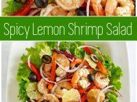 pinterest collage image for spicy lemon shrimp salad