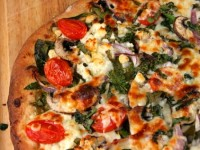 Spinach Mushroom and Feta Pizza