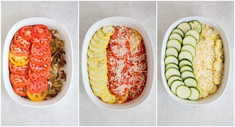 three photos showing the process of how to make a summer gratin layering squash and onions and cheese