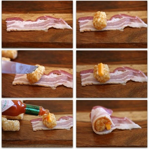 Easy appetizer recipe for Bacon Wrapped Tater Tots stuffed with cheese and Tabasco sauce : this is the perfect appetizer for football season and Super Bowl Sunday - recipe from RecipeGirl.com